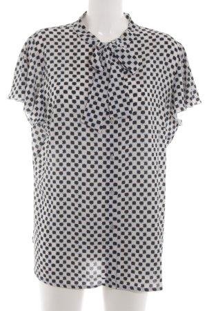 VA Milano Stropdasblouse zwart-wit volledige print zakelijke stijl