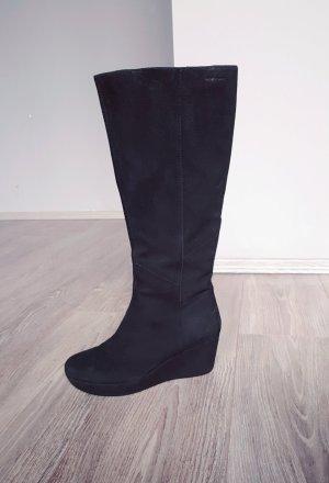 Vagabond Echtleder Wildleder Stiefel Boots Gr 38 schwarz Wildlederstiefel Keilabsatz Wedges