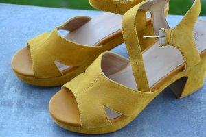 """VAGABOND Plateau-Sandaletten """"Jazz"""", golden yellow, Damen Gr. DE 39, Wildleder, Damenschuhe"""