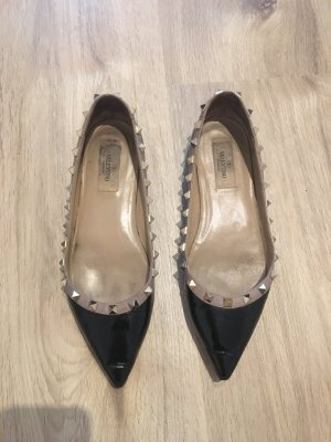 Valentino Patent Leather Ballerinas black-dusky pink