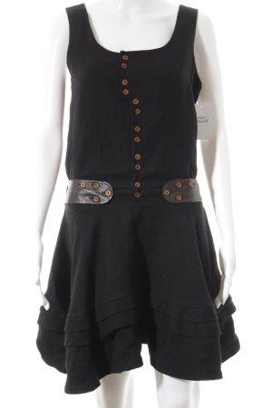 Valentine Gauthier Kurzarmkleid schwarz-dunkelbraun Street-Fashion-Look