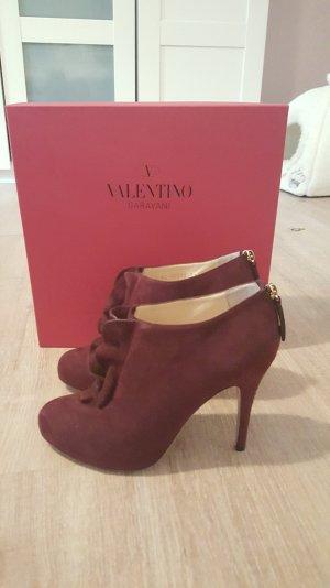 Valentino Ankle Boots Gr.38.5 weinrot 1xgetragen