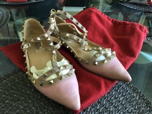 C. Valentino Ballerinas with Toecap rose-gold-coloured-gold-colored leather
