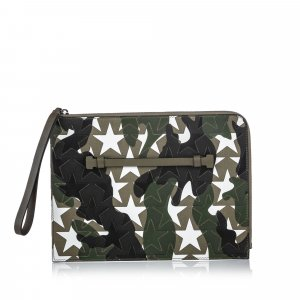 Valentino Camustars Embossed Canvas Clutch Bag