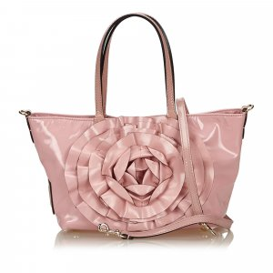 Valentino Floral Patent Leather Tote Bag