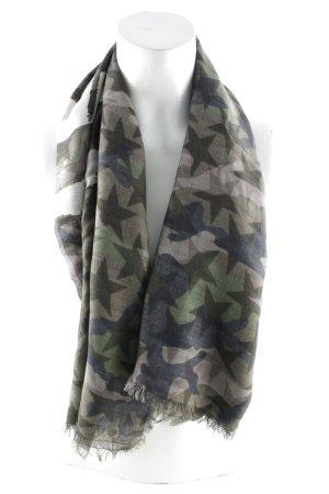 "Valentino Sjaal met franjes ""Flag Silk Scarf Army """