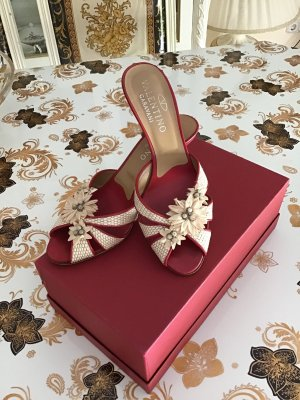 Valentino Heel Pantolettes dark red-cream