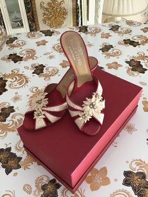 Valentino Sandalias con tacón rojo oscuro-crema