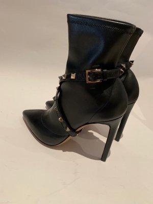 Valentino Garavani black stretch-leather ankle boots