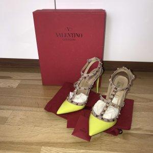 Valentino Garavani Rockstud Rockstuds Pumps 37 mit Box Neon Gelb