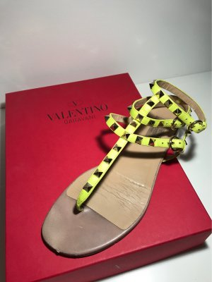 Valentino Toe-Post sandals neon yellow-gold-colored leather
