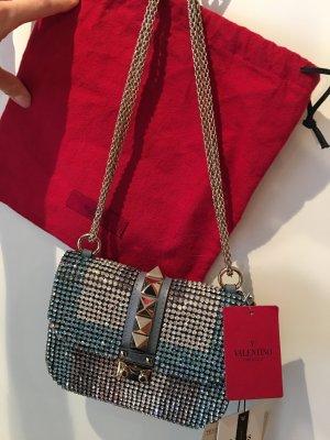 Valentino Glam Lock Rockstud Embellished Glitzer Leather Shoulder Bag