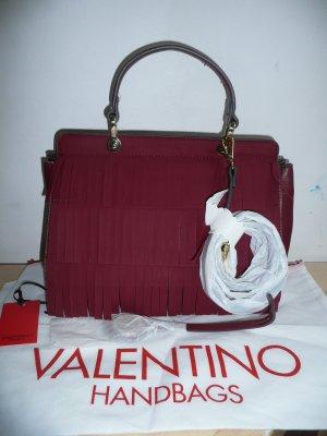 Valentino Handbags Tasche m Fransen V-Anhänger Bügel Schulterriemen burgund rot