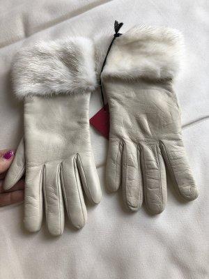 Valentino Guanto in pelle bianco sporco-crema