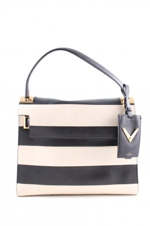 Valentino Henkeltasche wollweiß-schwarz Streifenmuster Casual-Look