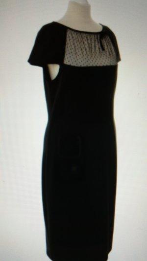 Valentino - Kleid in d.blau mit Tülleinsatz u Masche