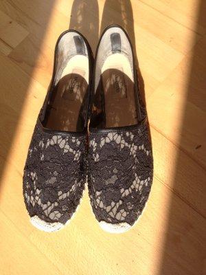 Valentino lace espandrilles aus schwarzer Spitze