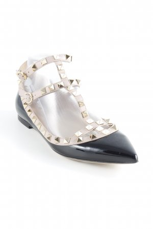 "Valentino Patent Leather Ballerinas ""Rockstud Pointed Strappy Ballerinas Nero Poudre"""