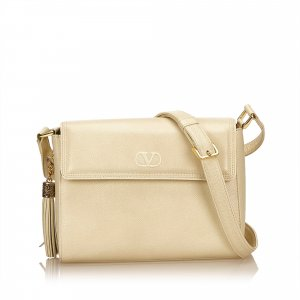 Valentino Leather Tasseled Shoulder Bag
