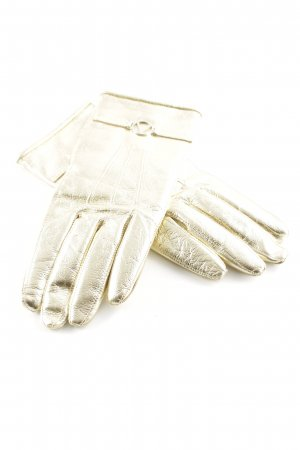 Valentino Leather Gloves gold-colored wet-look