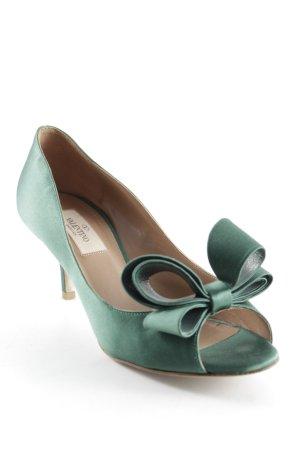 Valentino Peeptoe Pumps waldgrün extravaganter Stil