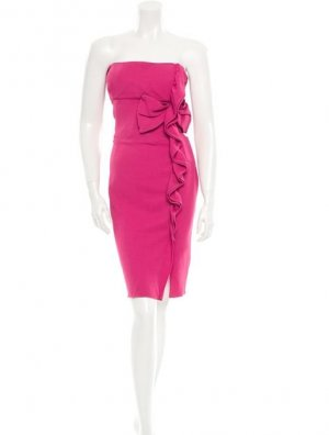 Valentino Red Bandeau Kleid pink Gr. 36 S Volant Bodycon Party Dress