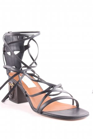 "Valentino Strapped High-Heeled Sandals ""Gladiator Sandals With Sculptured Heel Nero/ Deep Ebano"""
