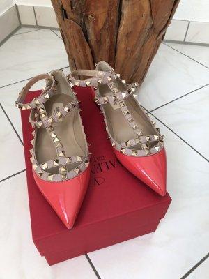 Valentino Scarpa rosa antico-rosso mattone Pelle