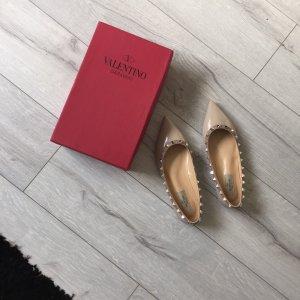 Valentino Rockstud Ballerina Cappuccino Beige Größe 37