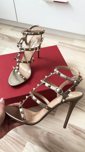 Valentino Strapped High-Heeled Sandals gold-colored-sand brown leather