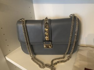 Valentino Rockstud Lock Crossbody Bag Medium  in Grau Blau Light Stone
