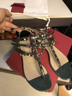 Valentino Roman Sandals gold-colored-dark green leather