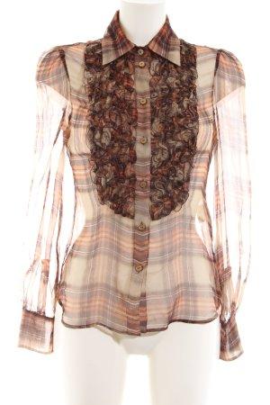 Valentino Roma Silk Blouse bronze-colored check pattern elegant