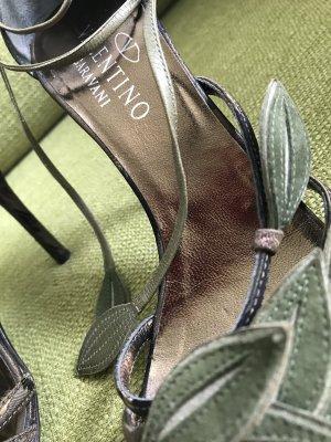 Valentino Sandalo con cinturino nero-cachi Tessuto misto