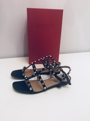 C. Valentino Roman Sandals black leather