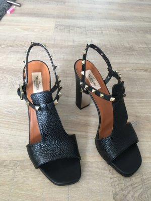 Valentino Strapped High-Heeled Sandals black-sand brown leather
