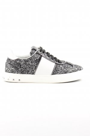 "Valentino Lace-Up Sneaker ""Glitter Sneaker Ruthenium/White"""