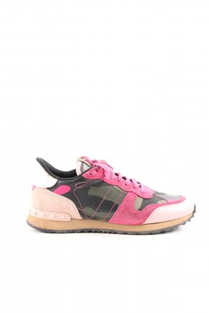 "Valentino Lace-Up Sneaker ""Valentino Sneaker Leather Army Green/Disco Pink"""