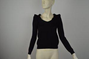 Valentino schwarzer Wollpullover Gr S mit Rüschen