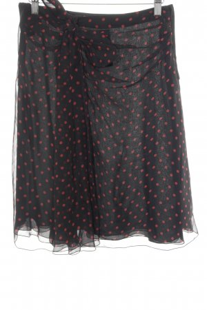 Valentino Silk Skirt Black Red Spot Pattern Romantic Style