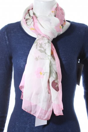 Valentino Foulard en soie blanc-rose motif de fleur style classique