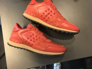 Valentino Lace-Up Sneaker orange leather