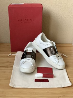 Valentino Lace-Up Sneaker white-bronze-colored leather