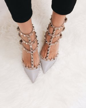 """Valentino Pointed Toe Pumps """"Rockstud Ankle Strap Pump Grey 35"""""""