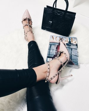 """Valentino Pointed Toe Pumps """"Rockstud Rolling Ankle Strap Pump Water Rose 40"""""""