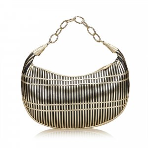 Valentino Striped Leather Chain Baguette