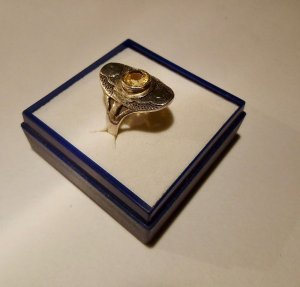 "Valentinstag ! #handgeschmiedet NEU 925 ""Citrin"" Ring"