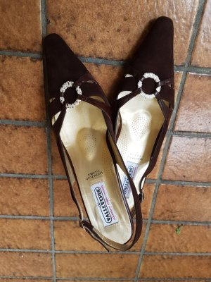 valleverde High-Heeled Sandals dark brown leather