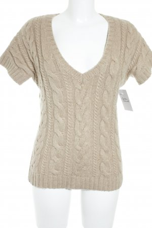 Value Kurzarmpullover beige Zopfmuster Casual-Look