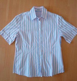 Van Laack Bluse Gr. 40 Blau Weiß Rosa Gestreift